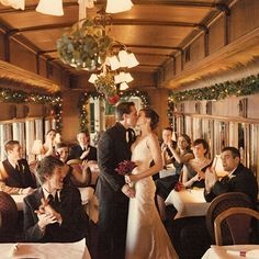 Chessies train car photo bride and groom