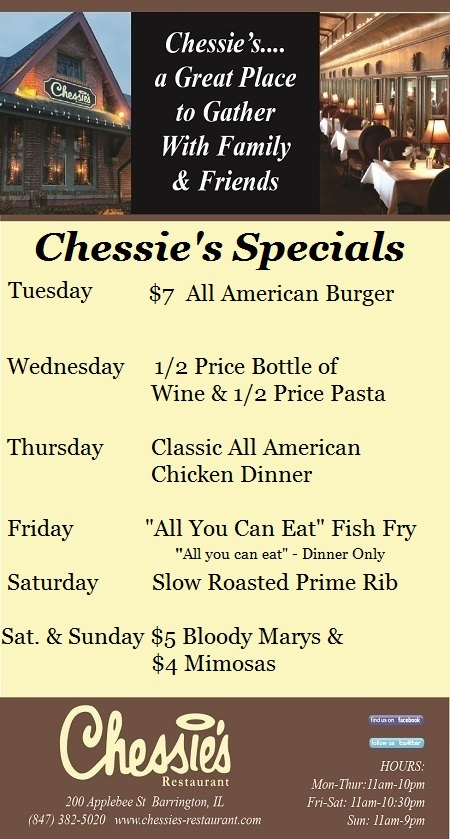 Chessie's weekly specials 2017