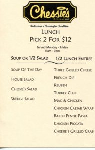 Chessies 2 for $12 Lunch Menu Monday to Friday 2016